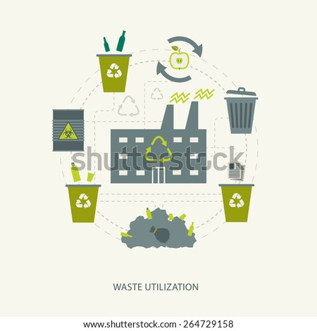 Recycling garbage and waste utilization concept. Environmental ecological background - stock vector