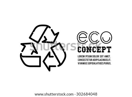 Recycling garbage icons concept. Waste utilization. Vector illustration - stock vector