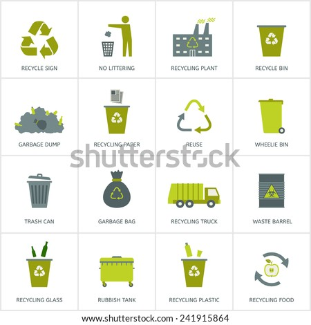 Recycling garbage icons set. Waste utilization. Vector illustration. - stock vector