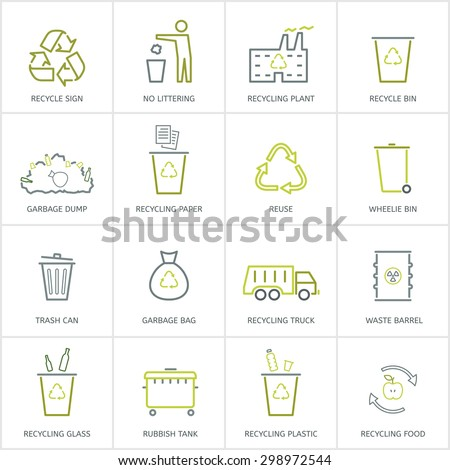 Recycling garbage linear icons set. Waste utilization. Vector illustration. - stock vector