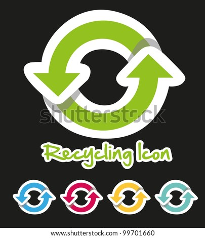 Recycling icon set of colors, isolated on black background - stock vector