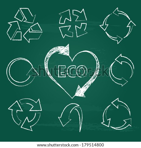 recycling icons set collections. ecological symbols isolated on green chalkboard background. vector illustration  - stock vector