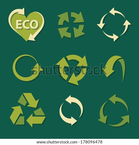 recycling icons set collections. green ecological symbols isolated on dark background. vector illustration - stock vector