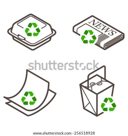 Recycling icons - takeaway container, newspaper, paper, and cartons.  - stock vector
