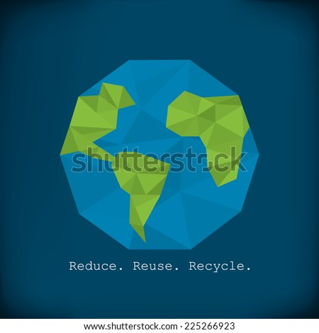 Recycling info graphics - modern polygonal element paper earth minimalist design
