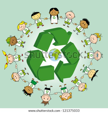 Recycling ring. Kids holding hands around a recycle symbol and the earth
