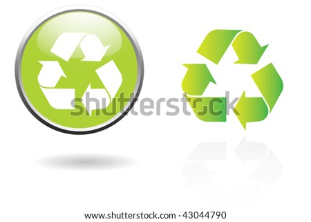 recycling sign button - stock vector