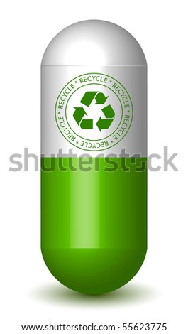 Recycling Sign Capsule Pill - stock vector