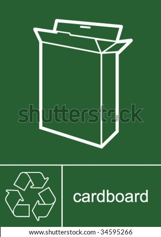 Recycling Sign Cardboard - stock vector