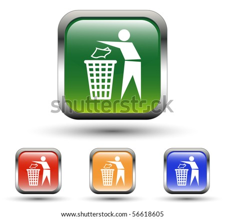 Recycling Sign Square Icons - stock vector
