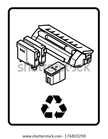 Recycling sign with an arrangement of printer consumables.