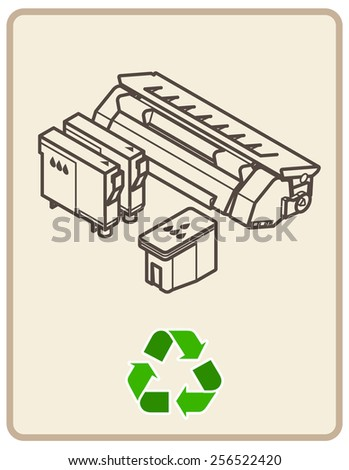 Recycling sign with an arrangement of printer consumables.  - stock vector
