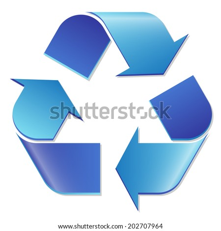 Recycling symbol blue - stock vector