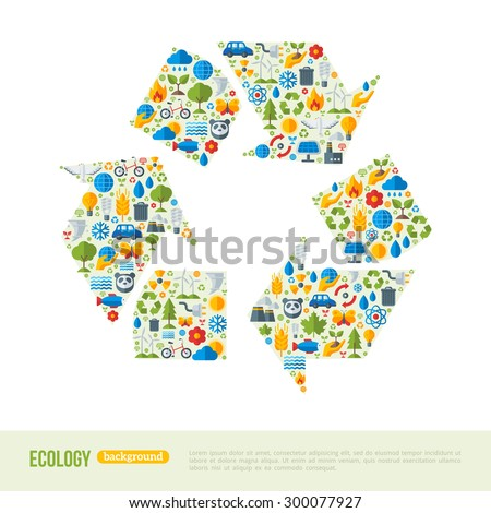 Recycling Symbol Flat Icons Concept. Vector Illustration. Ecologic Creative Concept. Abstract Infographics Template. Save the Planet Concept. Waste utilization.