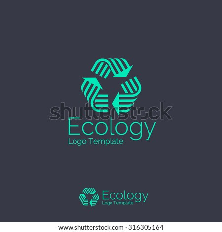 Recycling symbol, icon, logo template. Corporate branding identity - stock vector