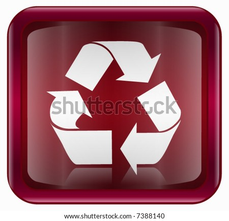 Recycling symbol icon, red - stock vector