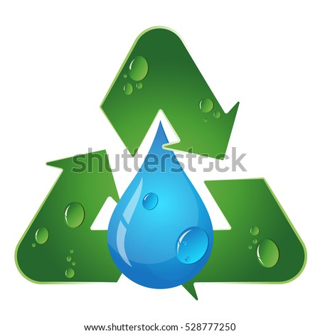 Recycling symbol vector, water drop and arrow