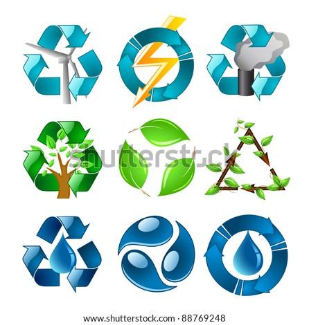 Recycling Symbols Set - stock vector