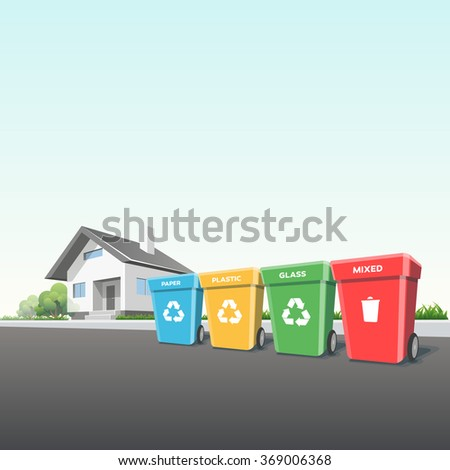 Recycling trash bins containers in front of the house on the street. Municipal waste segregation management concept. - stock vector