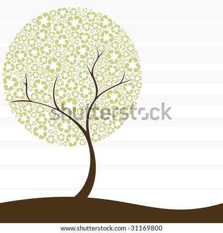 Recycling-tree concept (vector); a JPG version is also available - stock vector