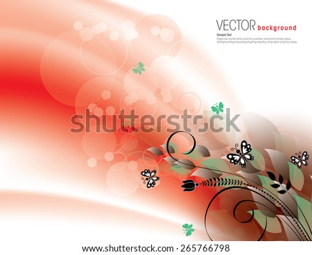 Red Abstract Background with Green Leaves and Butterflies. - stock vector