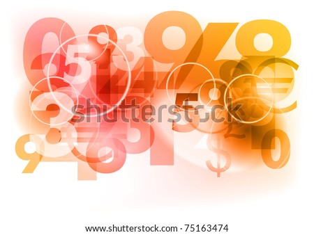 red abstract background with numbers - stock vector