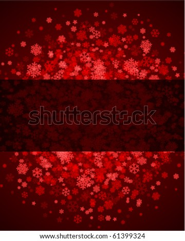 Red abstract christmas background with snowflakes - stock vector