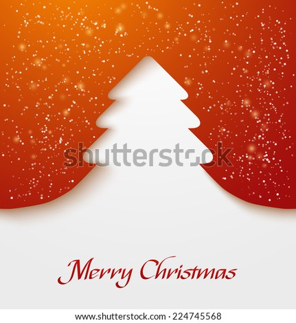 Red abstract christmas tree applique with snow particles. Vector illustration - stock vector