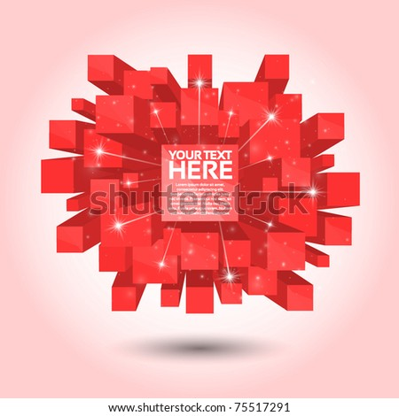 Red Abstract 3D Background - stock vector