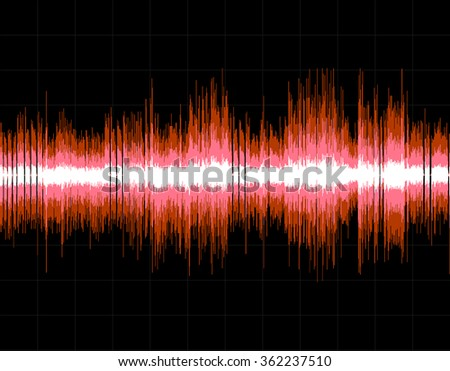 Red abstract digital sound wave background. Vector art. - stock vector
