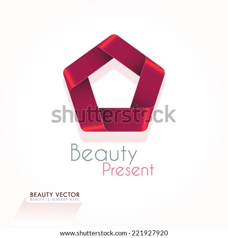 Red Abstract looped circular vector shape. Present, gift ribbon concept icon. Business sign template for Beauty Industry, Cosmetic labeling, Present cards, Beauty Boutique.  - stock vector