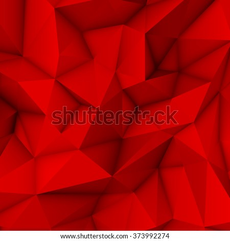 Red abstract low-poly, polygonal triangular mosaic background for design concepts, posters, banners, web, presentations and prints. Vector illustration. Realistic 3D render design template. - stock vector