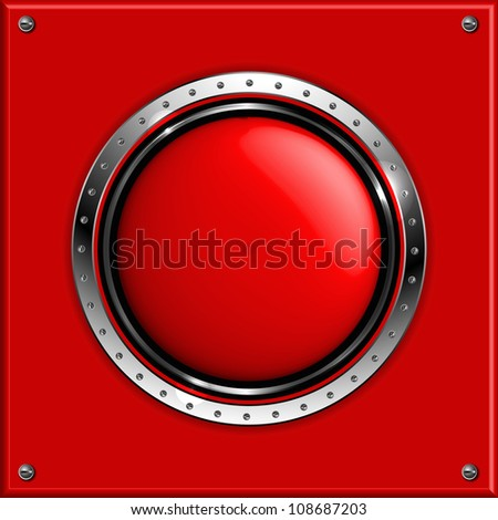 Red abstract metallic background with round glossy banner, vector.