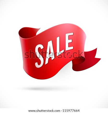 "Red abstract ribbon with ""Sale"" text - eps10 vector - stock vector"
