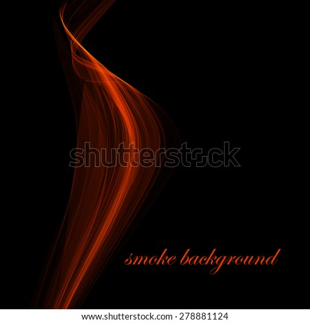 Red abstract smoke isolated on black. Vector illustration. Eps 10 - stock vector