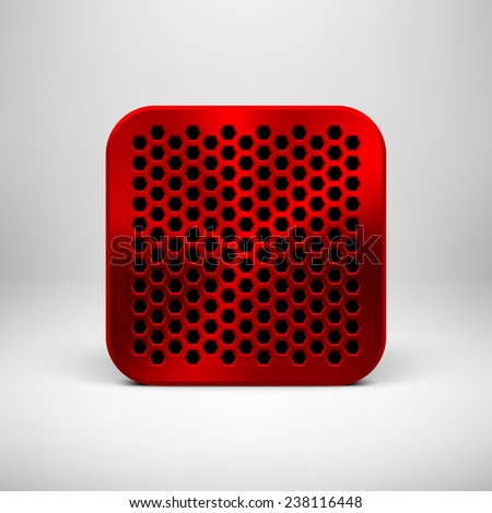 Red abstract technology app icon, button template with polygon cell perforated speaker grill, metal texture (chrome), realistic shadow and light background for interfaces, UI and applications, apps. - stock vector