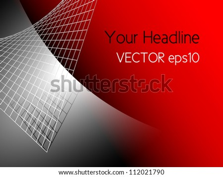 Red abstract technology background with silver grey metal - stock vector
