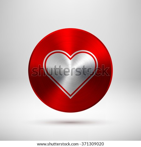 Red abstract technology circle badge, button template with  Valentines heart sign, realistic metal texture, chrome, steel, silver for web, banners, badges, prints. 14th february. Vector illustration. - stock vector
