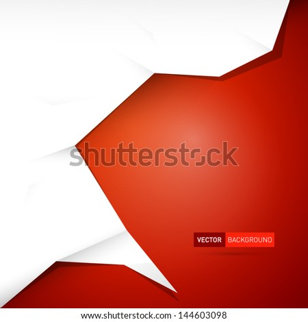 Red abstract vector background with white paper placed - stock vector