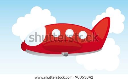 red air plane cartoon over sky. vector illustration - stock vector