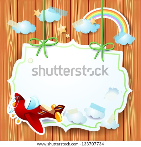 Red airplane and copy space, vector background - stock vector