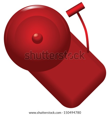 Red alarm bell with alarm calls. Vector illustration. - stock vector