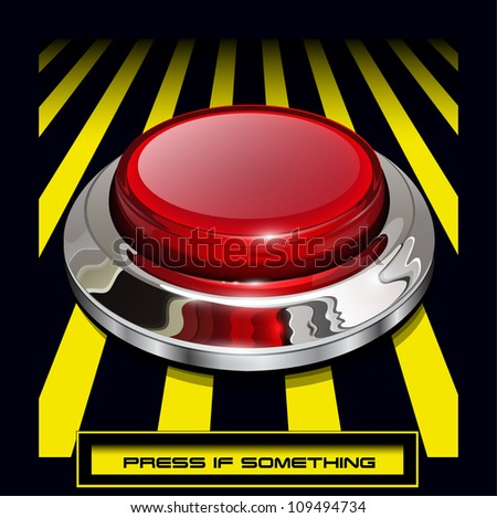 Red alarm chrome shiny button background, vector. - stock vector