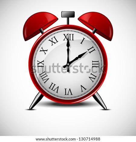 Red alarm clock - stock vector