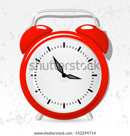 Red alarm clock cartoon, vector - stock vector