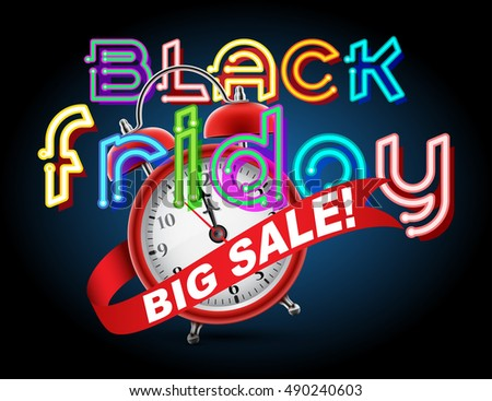 Red alarm clock concept - Black Friday Big Sale