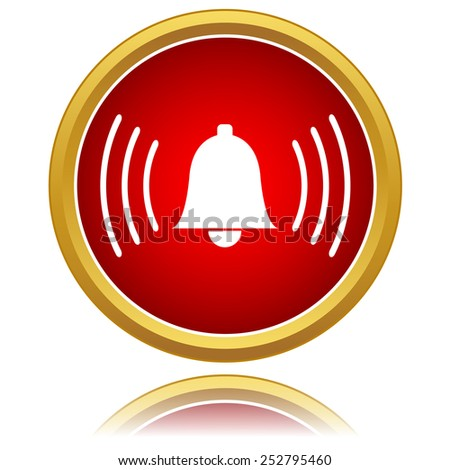 Red alarm-clock icon isolated on a white. Vector illustration - stock vector