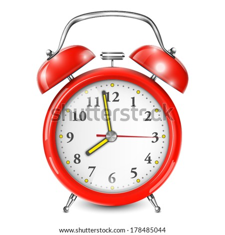 Red Alarm Clock Isolated On White. Vector Illustration.