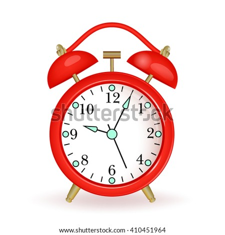 Red alarm clock  on white background. Vector illustration.