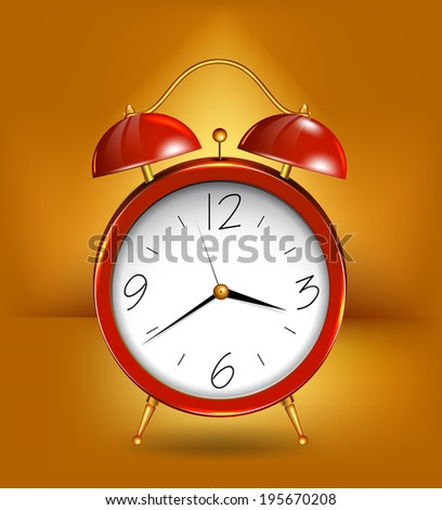 Red alarm clockwith gold details. Vector - stock vector
